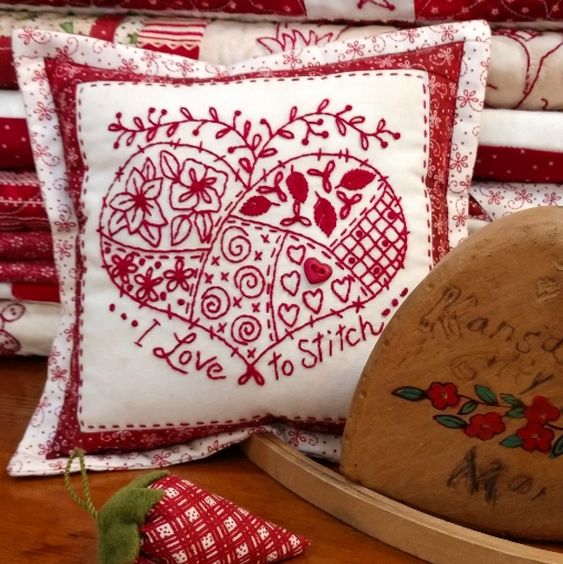 Picture of I Love to Stitch Pin Cushion - Machine Embroidery Pattern