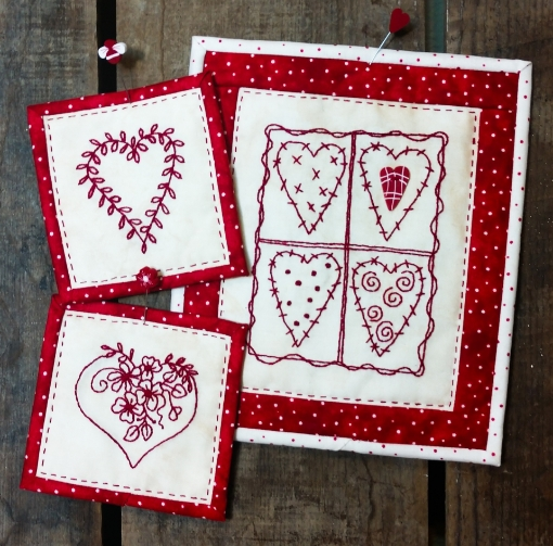 Picture of Patchwork Hearts - Machine Embroidery Pattern