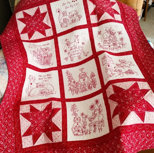 Love Me, Love My Cat RedWork Quilt - Hand Embroidery Pattern