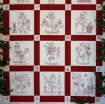 Here Comes Santa Redwork Quilt Hand Embroidery