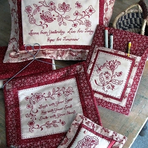 Floral Scroll RedWork Hand Embroidery Pattern