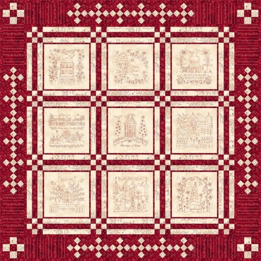 Home and Heart RedWork Quilt - Hand Embroidery Pattern