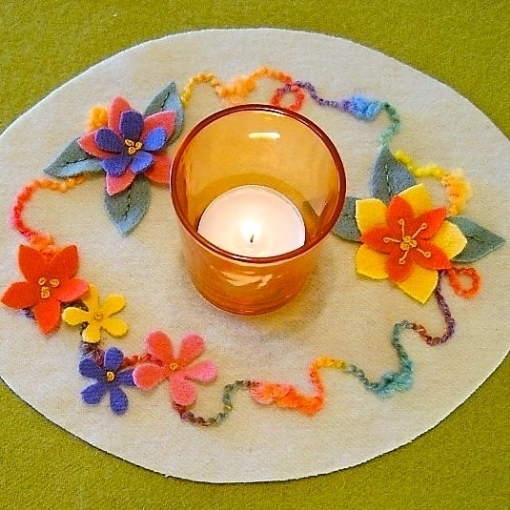 Wool Applique Spring Candle Mat