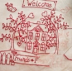 Picture of Home and Heart RedWork Quilt - Hand Embroidery Pattern - Shipped