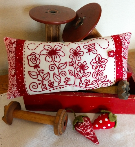 Picture of Stitcher's Flower Garden Hand Embroidery Pin Cushion