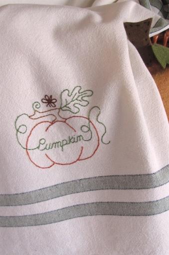 Pumpkin Tea Towel -  Hand Embroidery Pattern